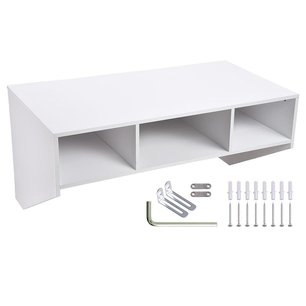 Wall Mounted Floating Desk with Storage 80lbs Weight Capacity Computer Laptop Home Furniture White 1