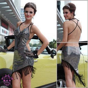 車模特比賽禮服21947#性感亮片流蘇拉丁舞蹈小姐演出服裝
