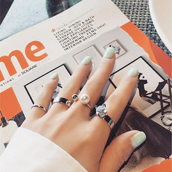 PS Mall   潮人戒指女 混搭多件套鋯石戒指 四件套開口指環~G2001~ ~  好