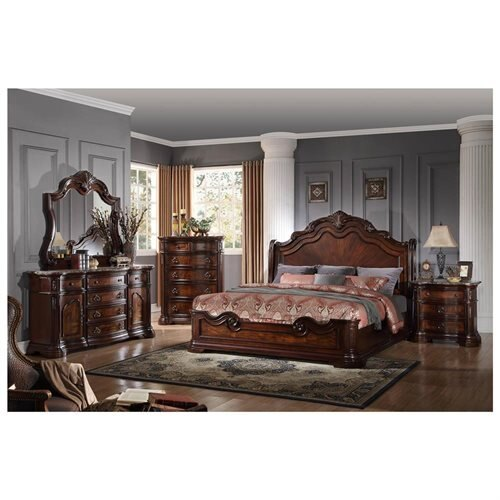 B1003 Barneys Traditional Walnut with Marble Panel Bedroom Set (Cal. King)