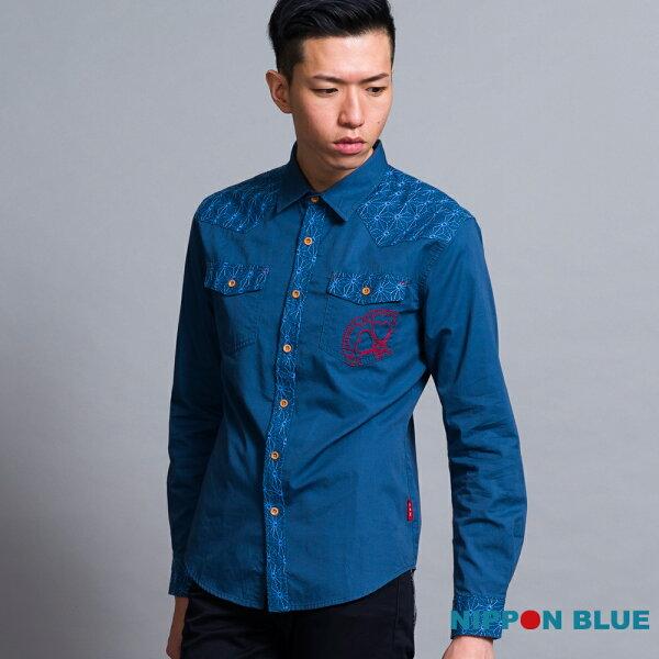 【秋冬精選】麻葉刺繡長袖襯衫(深藍)-BLUEWAYNIPPONBLUE日本藍