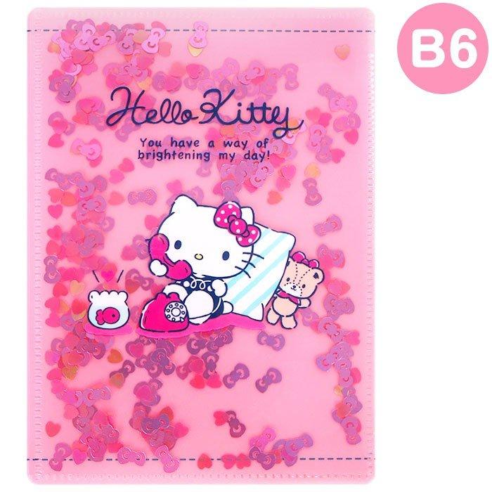 【真愛日本】凱蒂貓kitty 文件夾 資料夾 紙張收納 收納夾 文具 辦公室小物 4901610288450 對開B6亮片文件夾-KT電話小熊