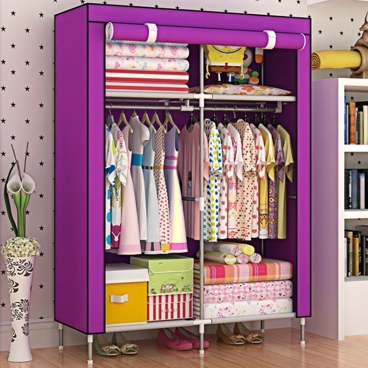 簡易布藝宿舍衣櫃單人布衣櫃不銹鋼簡約現代經濟型組裝布衣櫥TW