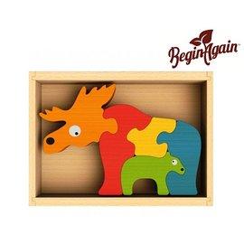 【美國 Begin Again】 木質雙面拼圖(麋鹿家族)純天然木質拼圖