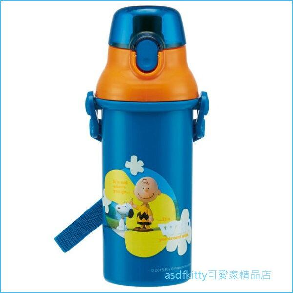 asdfkitty可愛家☆SNOOPY史努比橘藍色彈蓋直飲水壺-附背帶-480ML-PSB5SAN-日本製