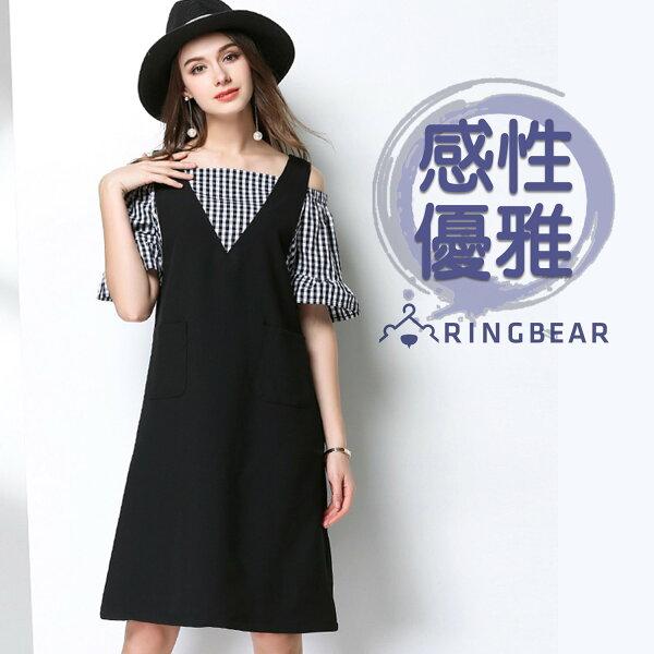 性感洋裝--假兩件甜美性感露肩格紋A字版型口袋V領短袖洋裝(黑L-3L)-D493眼圈熊中大尺碼