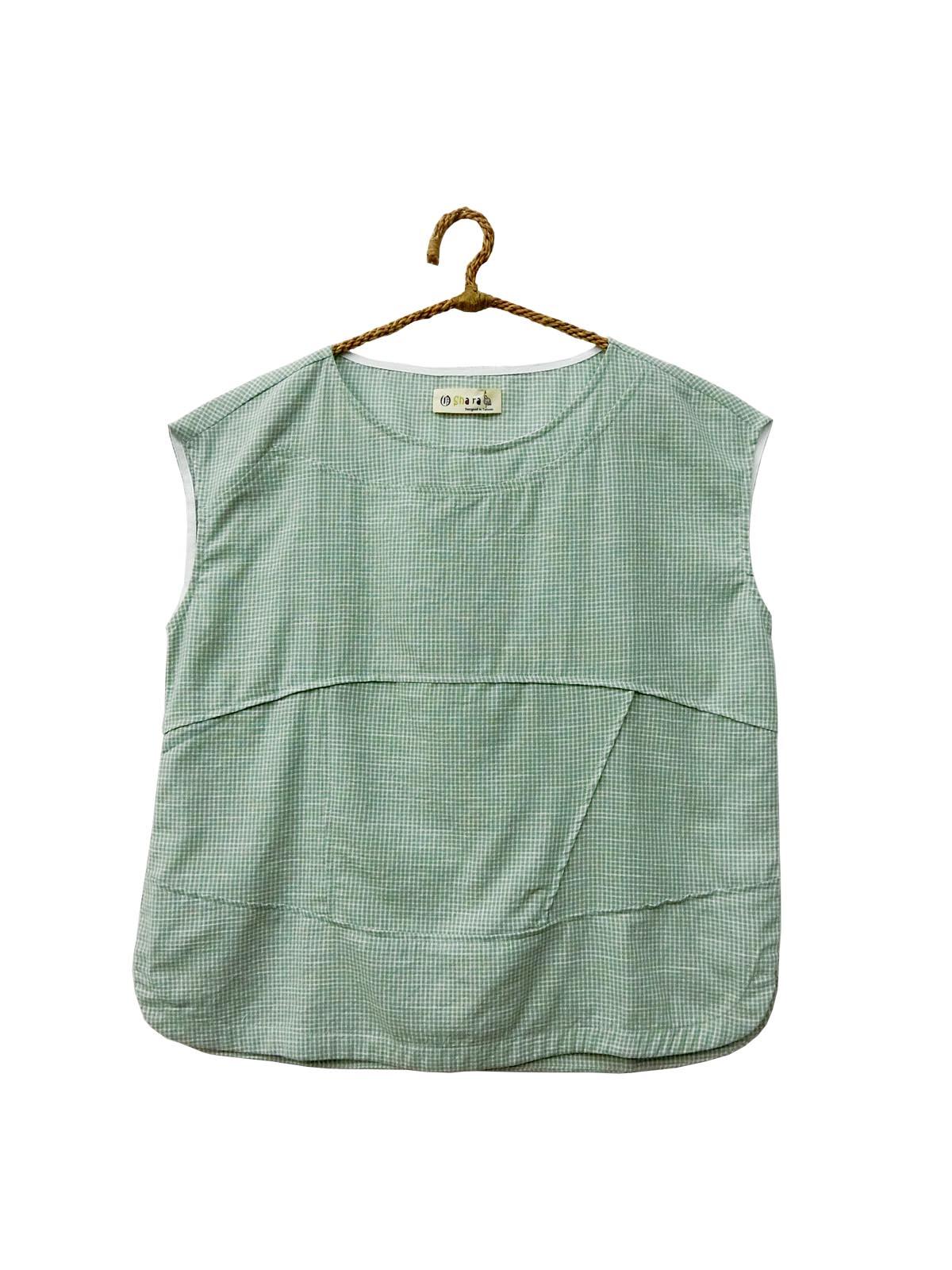 ❋ 蝴蝶zakka shop ❋小格紋無袖拼接純棉上衣(綠)