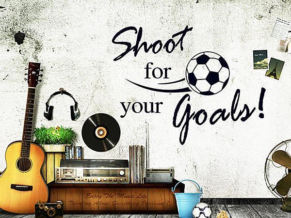 BO雜貨【YV2946】可移動 時尚組合壁貼 牆貼 壁貼紙 創意璧貼 射門 足球+英文字母
