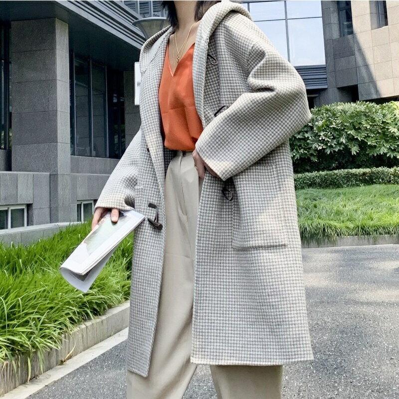 毛呢大衣羊毛外套-長版牛角扣大口袋連帽女外套2色73wb43【獨家進口】【米蘭精品】 2