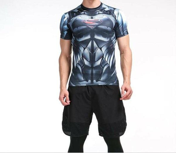 FINDSENSEMD日系時尚男高彈力緊身運動短T訓練服跑步健身T恤3D胸口S標誌圖案短袖T恤