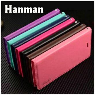 【Hanman】Apple iPhone 6 Plus/6S Plus 5.5吋 真皮皮套/翻頁式側掀保護套/側開插卡手機套/保護殼
