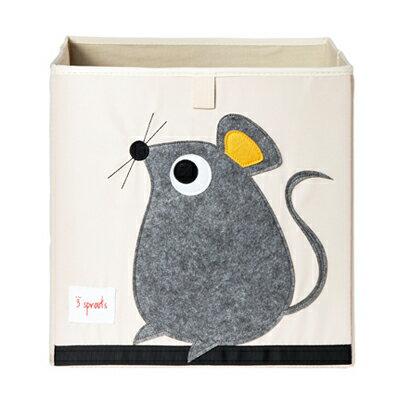 【淘氣寶寶】加拿大 3 Sprouts 收納箱-老鼠【超大容量 收納箱,可摺疊,100%棉帆布手感柔軟耐抗污】【 貨】