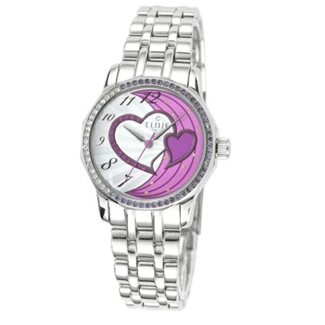 CLOIE 圓形晶鑽不鏽鋼錶帶女腕錶 紫愛心/34mm CL10175-YQ20