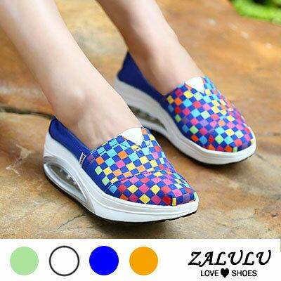 ZALULU愛鞋館 FD065 活潑視覺格子色彩搖搖布鞋~桔紅  寶藍  白  淺綠36~