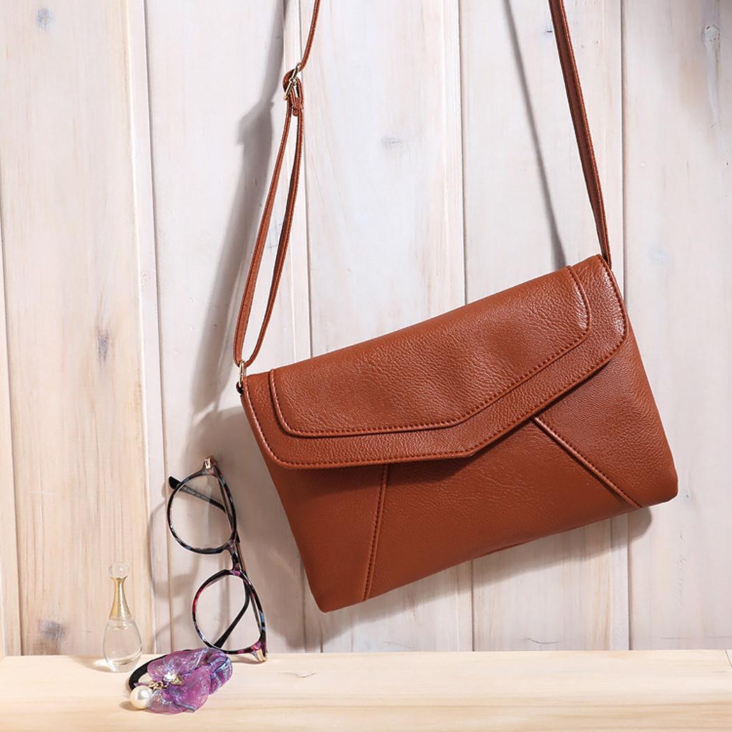 Ladies Leather Pure Color Hasp Closure Messenger shoulder Bag 5