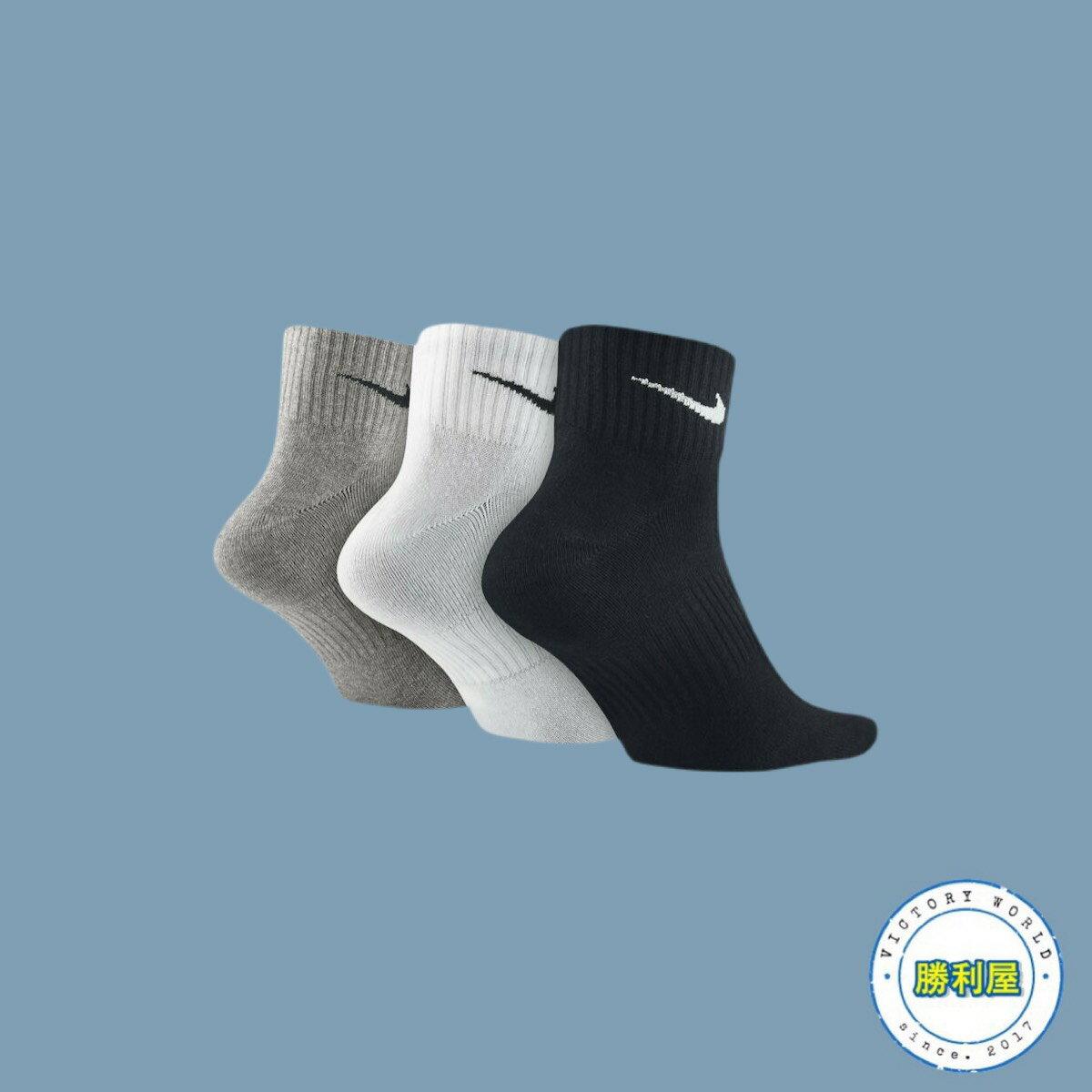 【滿3000現折300↘最高折$450】【NIKE】NIKE LIGHTWEIGHT QUARTER SOCKS CREW 襪子 中筒襪 黑/白/灰 小LOGO 基本款 三色一組 男女尺寸【勝利屋】