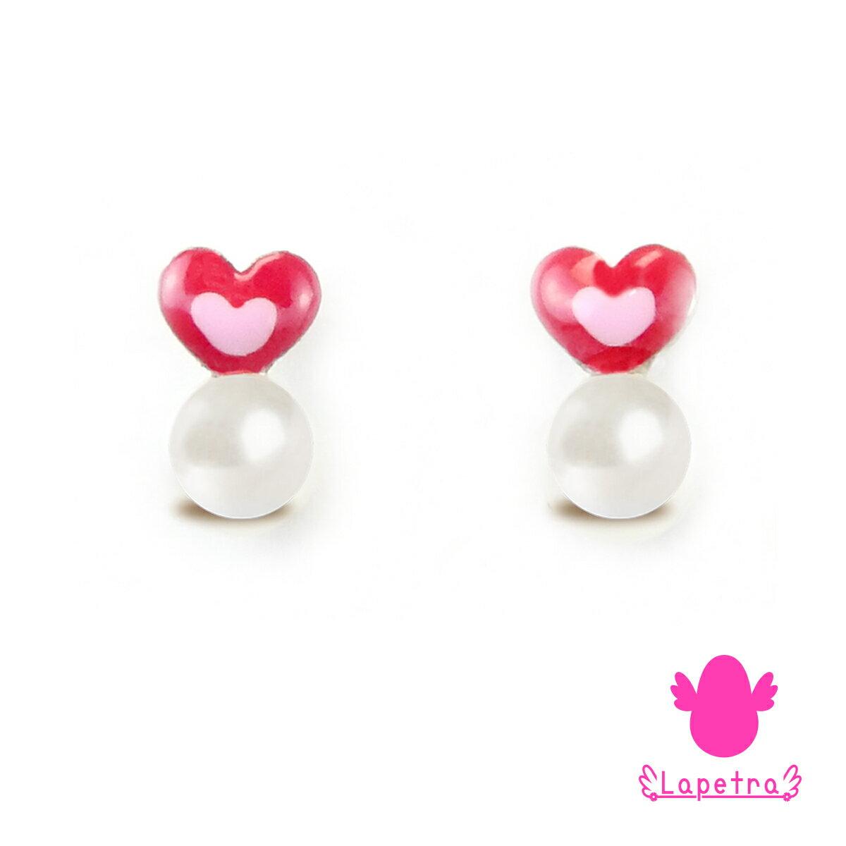 西班牙【La Petra】快樂甜心 925純銀 琺瑯珍珠耳環