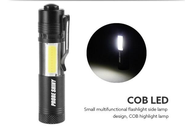 R2超迷你LED手電筒+COB掌心雷手電筒附戰術夾口袋手電筒l2手電筒停電燈露營