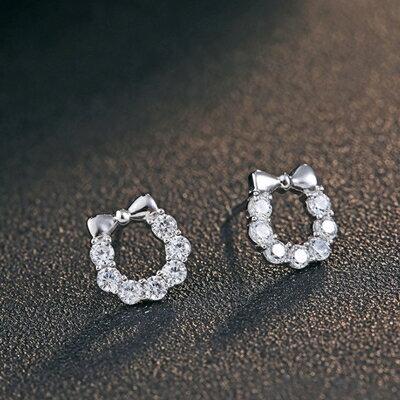 925純銀耳環鑲鑽耳飾~蝴蝶結鑲鑽 生日情人節 女飾品73dy128~ ~~米蘭 ~