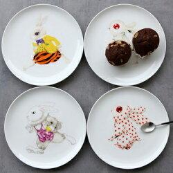 ★陶瓷餐盤 創意西餐盤子(任兩款)-兔子圖案骨瓷圓形居家廚房用品4款73h29【獨家進口】【米蘭精品】