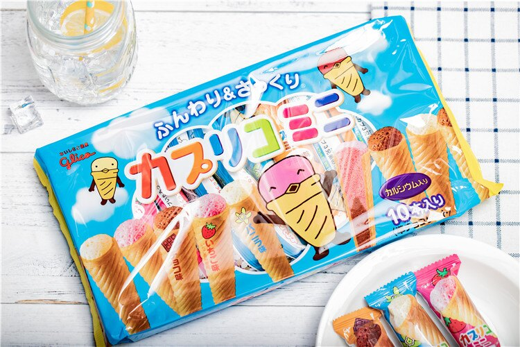 【Glico固力果】三種類巧克力甜筒餅10入-草莓/巧克力/香草 江崎グリコ カプリコミニ大袋 日本進口零食