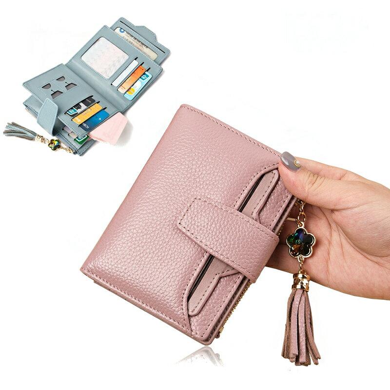 【喜番屋】日韓版真皮頭層牛皮女士流蘇19卡位獨立卡位皮夾皮包錢夾零錢包2折短夾流行女包女夾LH364