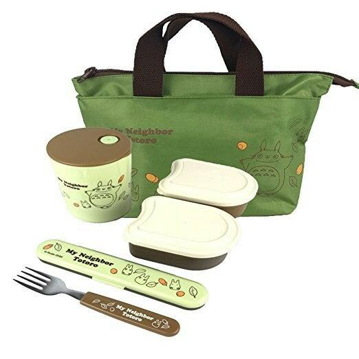 【真愛日本】18080400009輕量保溫罐附餐具組提袋-橡果落葉totoro龍貓保溫罐便當盒提袋餐具