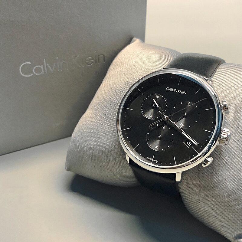 美國百分百【全新真品】Calvin Klein 黑面簡約 三眼計時 皮質錶帶 手錶 腕錶 石英錶 瑞士製造 BA61