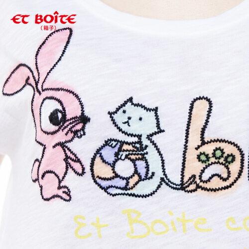 【8折限定↘】ET BOiTE 箱子  Rabbit 綁帶T恤(白) 1