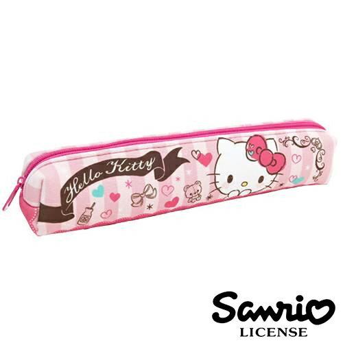 粉紅條紋款~  ~Hello Kitty 凱蒂貓 長型 防震 筆袋 長型筆袋 鉛筆盒 三麗