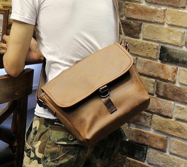 FINDSENSEZ1韓國時尚潮男休閒戶外皮質多功能大胸包單肩包斜背包側背包斜挎包