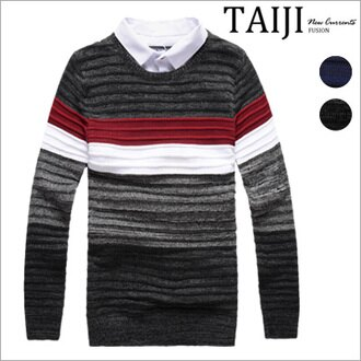 針織毛衣‧橫條撞色假兩件襯衫領針織毛衣‧二色【ND91061】-TAIJI