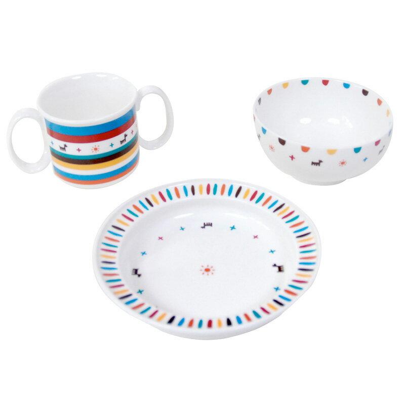 日本製 Hoppetta BOBO幾何圖騰餐 強化陶瓷3件餐具組 兒童餐具 餐碗 禮盒包裝