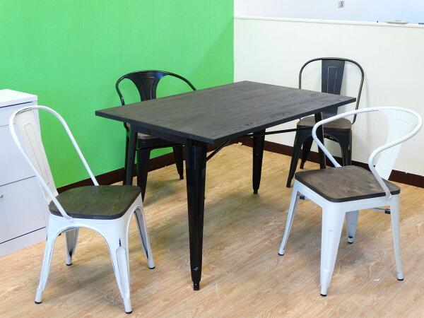 !新生活家具!《奧莉薇》黑色長桌餐桌tolix復古工業風loft鐵皮餐桌