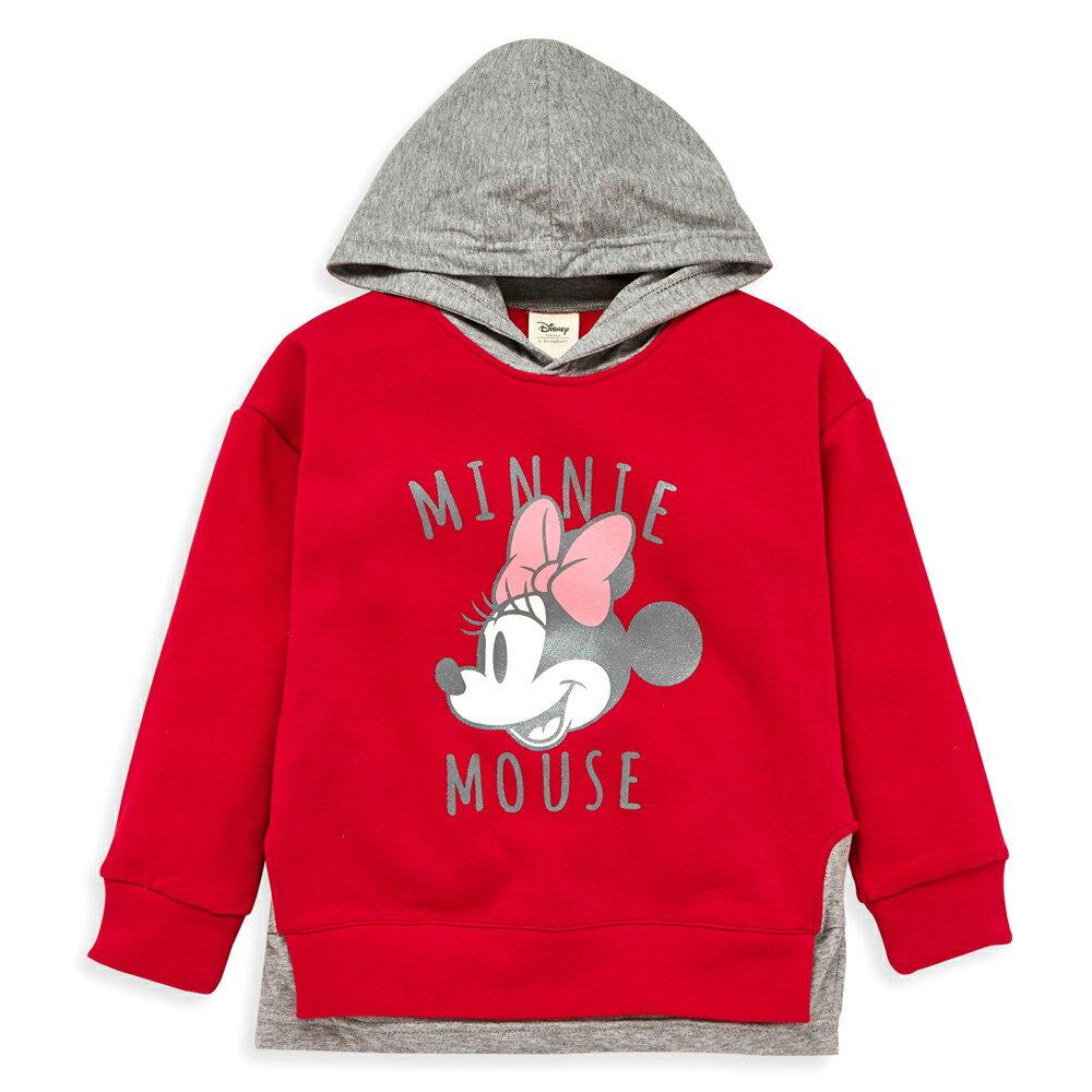 Disney 米妮系列米妮假二件式刷毛連帽上衣-紅色 - 限時優惠好康折扣