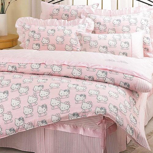 【享夢城堡】HELLO KITTY 貴族學園系列-精梳棉單人床包薄被套組