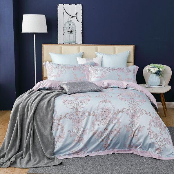 床包被套組天絲緹花四件式雙人薄被套加大床包組巴黎左岸[鴻宇]台灣製M2557