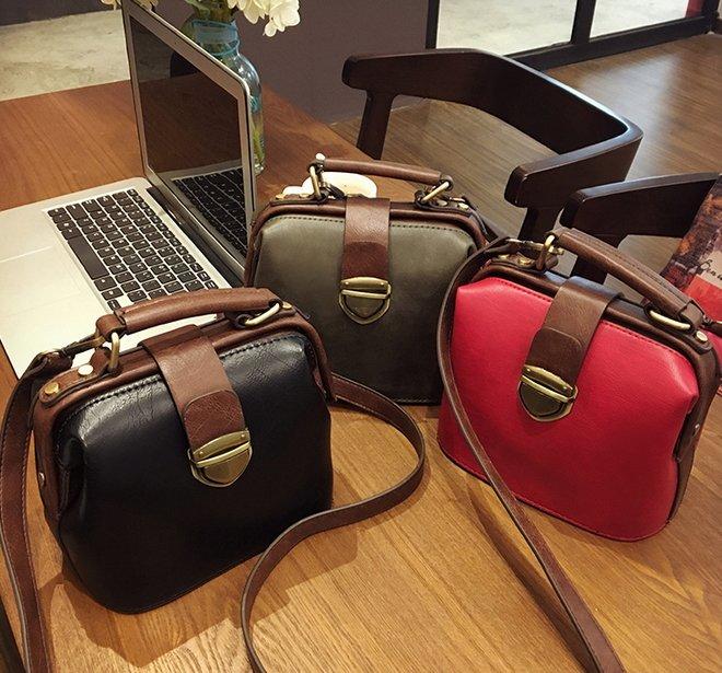 【Miss 小Q】時尚精品復古醫生包斜挎包手提單肩包真皮迷你小包包 韓國代購 醫生包 牛皮包