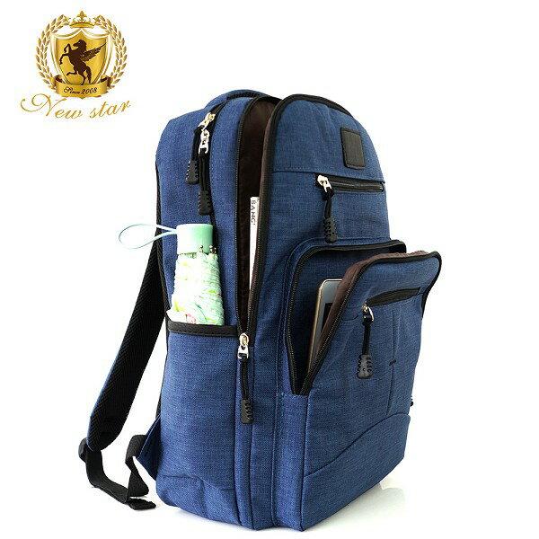 韓風簡約時尚防水雙層拉鍊多口袋後背包包 NEW STAR BK244 9