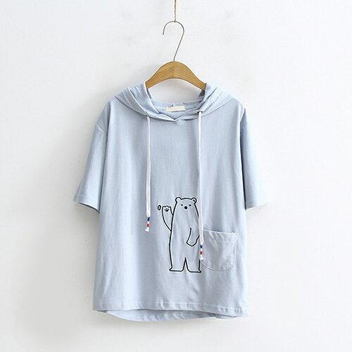 *ORead*口袋小熊刺繡連帽寬鬆短袖T恤(3色F碼) 0