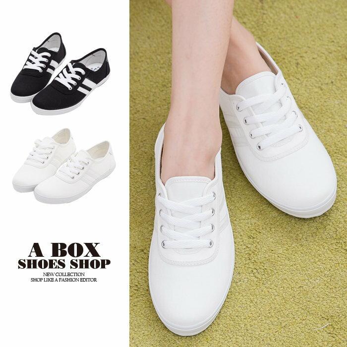 ★399免運★格子舖*【KB041】MIT台灣製 簡約時尚條紋素面帆布 綁帶休閒帆布鞋 小白鞋 2色 0