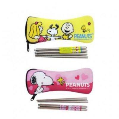 【真愛日本】15111300001 二截式筷組附套-粉 Snoopy 史奴比 餐具 生活用品 筷子組 廚房用具