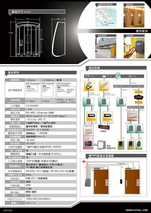 高雄/台南/屏東門禁 SOYAL AR-727H EM / Mifare 液晶顯示雙頻門禁控制器 讀卡機 門禁 限量2台