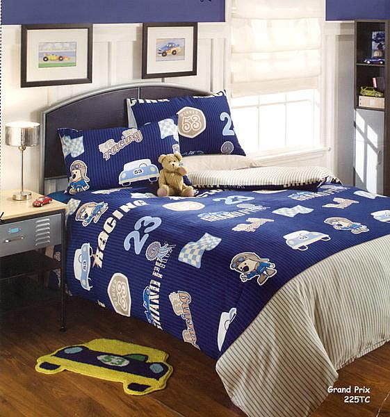 進口兒童床組小狗賽車手單人被套兩件組