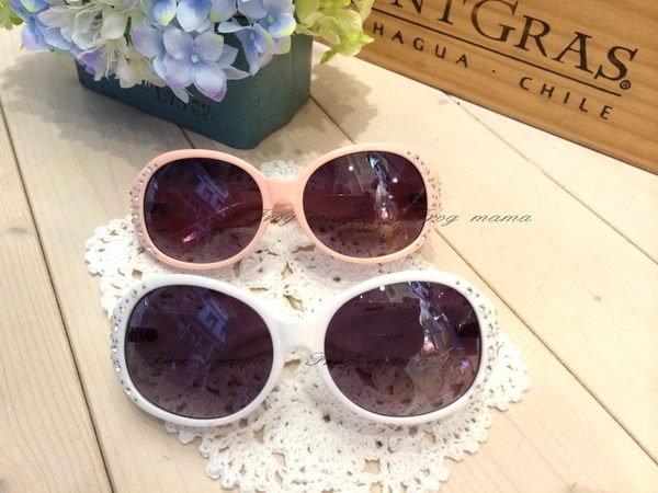 限時8折☆韓國直送.正韓貼鑽造型太陽眼鏡(粉、白)