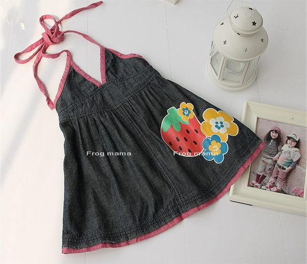 日系品牌mps草莓&花朵牛仔吊帶裙100~140(6折專區)