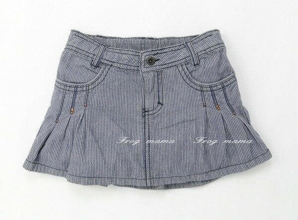 個性剪裁直條紋褶皺短裙100cm(瑕疵6折專區)