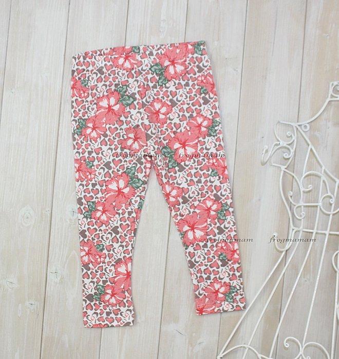 歐單粉橘豹紋花朵內搭褲、長褲3/4T~4/5T