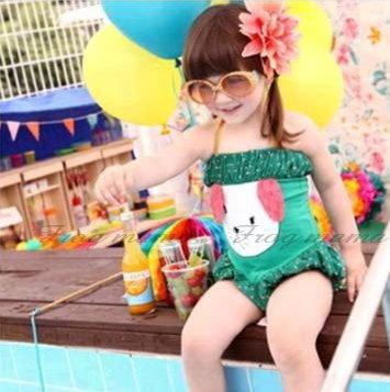 綠點小兔子時尚燈籠褲連身泳衣3T~6T