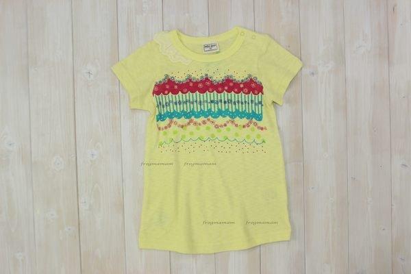 MG黃色花邊蕾絲長版上衣 90^~120cm